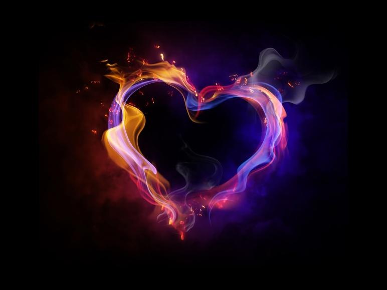 Fire Heart Love HD Wallpaper